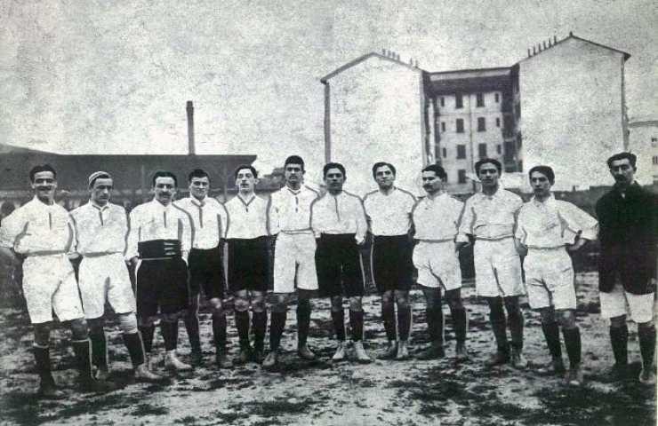 La nazionale italiana nel 1910